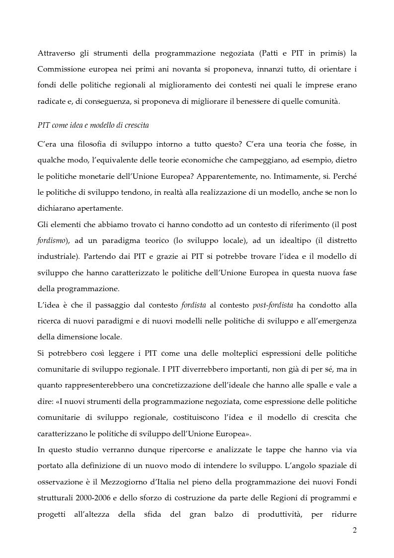 """Anteprima della tesi: La programmazione dei Fondi strutturali 2000 - 2006: I """"Progetti Integrati Territoriali"""", Pagina 2"""