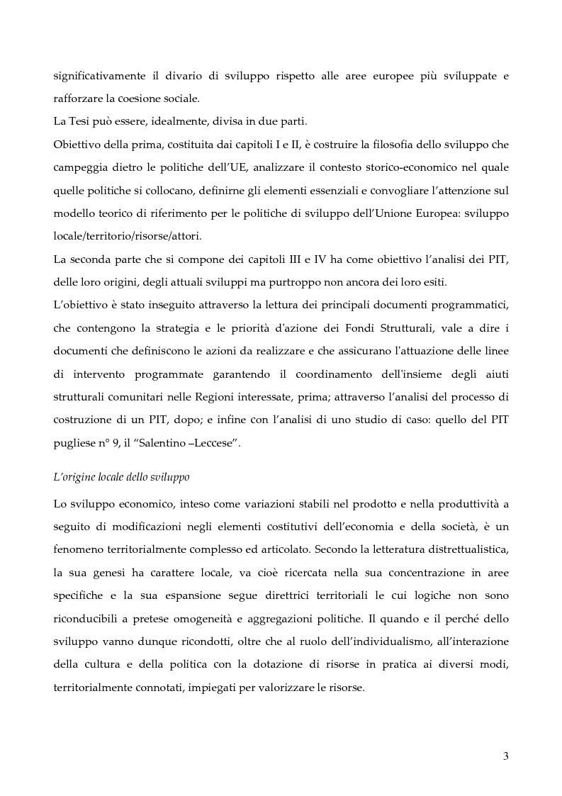 """Anteprima della tesi: La programmazione dei Fondi strutturali 2000 - 2006: I """"Progetti Integrati Territoriali"""", Pagina 3"""