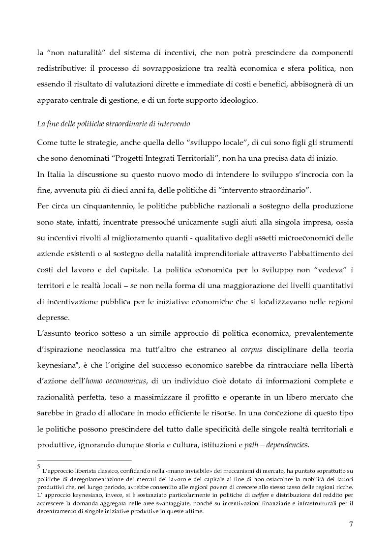 """Anteprima della tesi: La programmazione dei Fondi strutturali 2000 - 2006: I """"Progetti Integrati Territoriali"""", Pagina 7"""