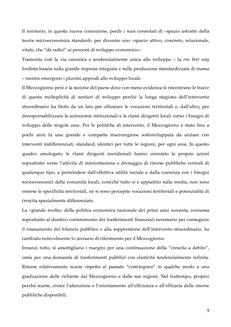 """Anteprima della tesi: La programmazione dei Fondi strutturali 2000 - 2006: I """"Progetti Integrati Territoriali"""", Pagina 9"""