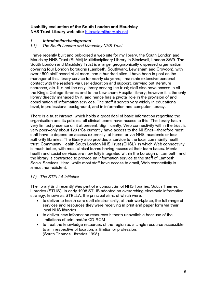 Anteprima della tesi: Usability evaluation of the South London and Maudsley NHS Trust Library web site, Pagina 2