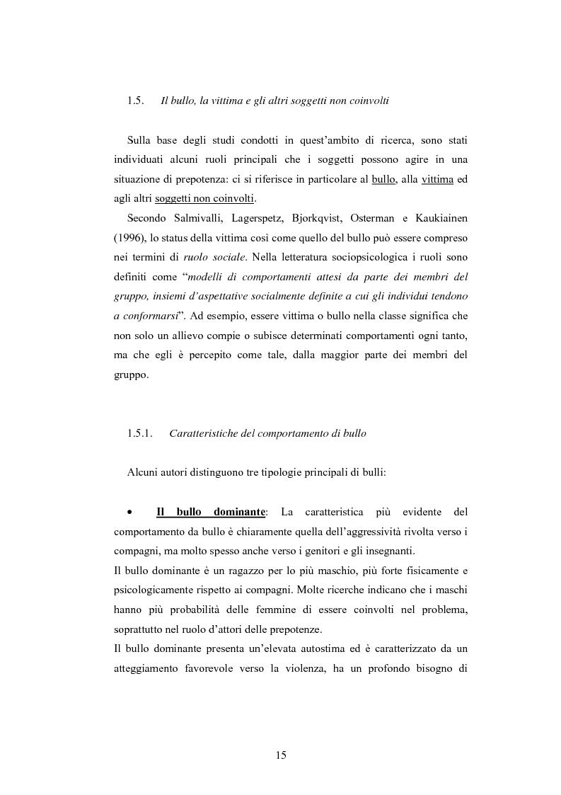 Anteprima della tesi: Bulli e vittime tra i banchi di scuola: profili, diffusione e metodologie d'intervento, Pagina 14