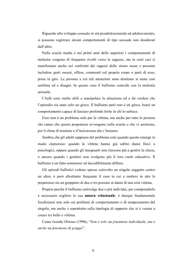Anteprima della tesi: Bulli e vittime tra i banchi di scuola: profili, diffusione e metodologie d'intervento, Pagina 8