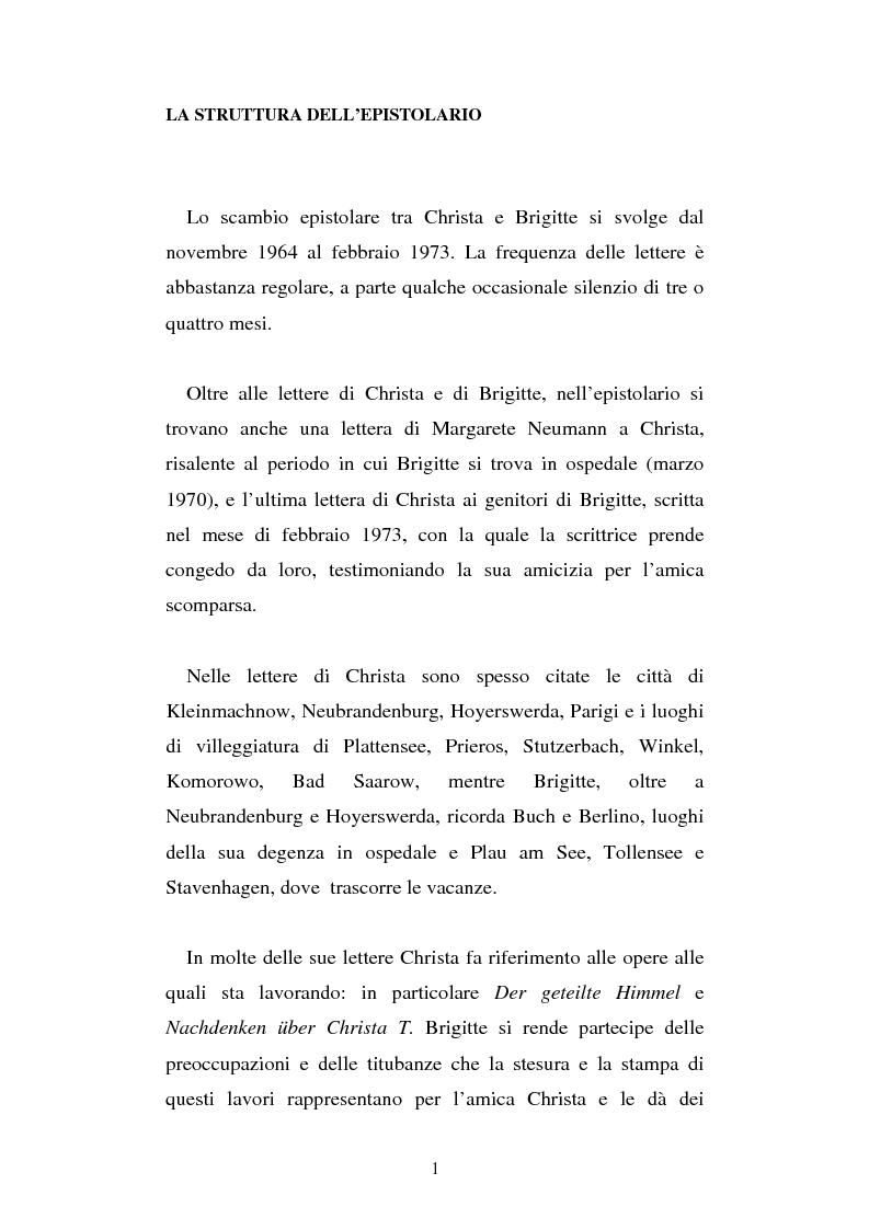 Anteprima della tesi: Brigitte Reimann e Christa Wolf: un epistolario, un'amicizia, Pagina 1