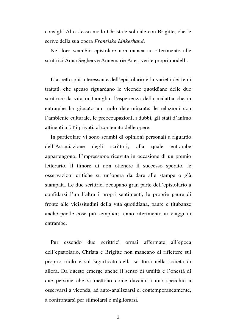 Anteprima della tesi: Brigitte Reimann e Christa Wolf: un epistolario, un'amicizia, Pagina 2