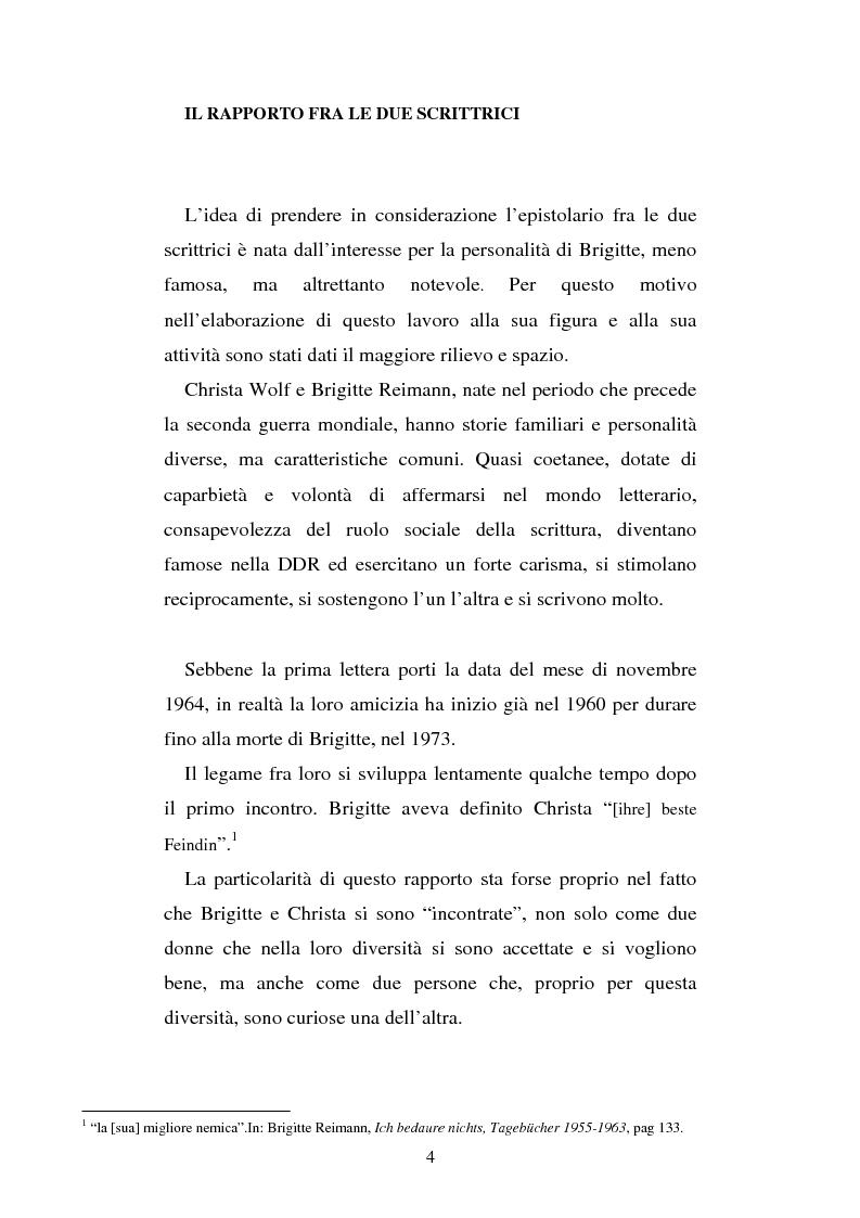 Anteprima della tesi: Brigitte Reimann e Christa Wolf: un epistolario, un'amicizia, Pagina 4