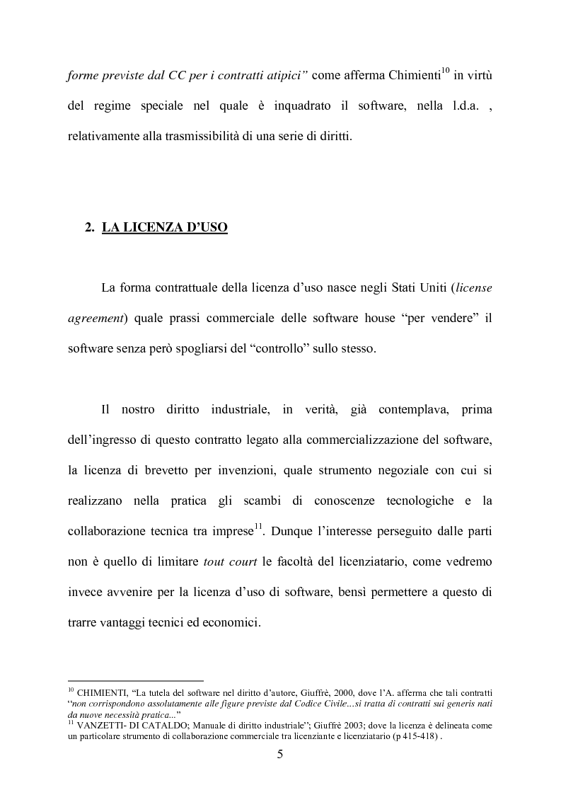Anteprima della tesi: I contratti di licenza per l'uso del software, Pagina 4