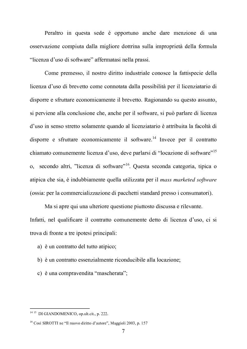 Anteprima della tesi: I contratti di licenza per l'uso del software, Pagina 6