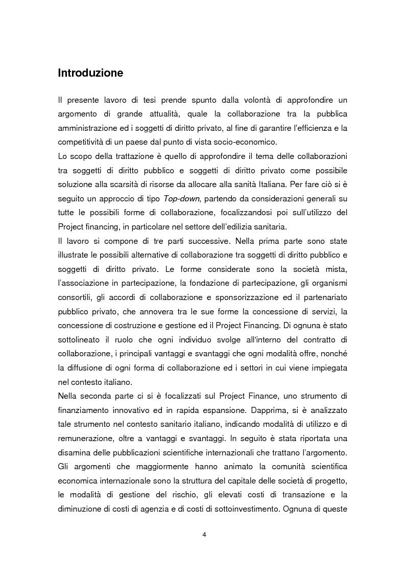 Anteprima della tesi: Forme di collaborazione pubblico-privato: un'analisi empirica sull'utilizzo del Project Finance nel settore sanitario italiano, Pagina 1