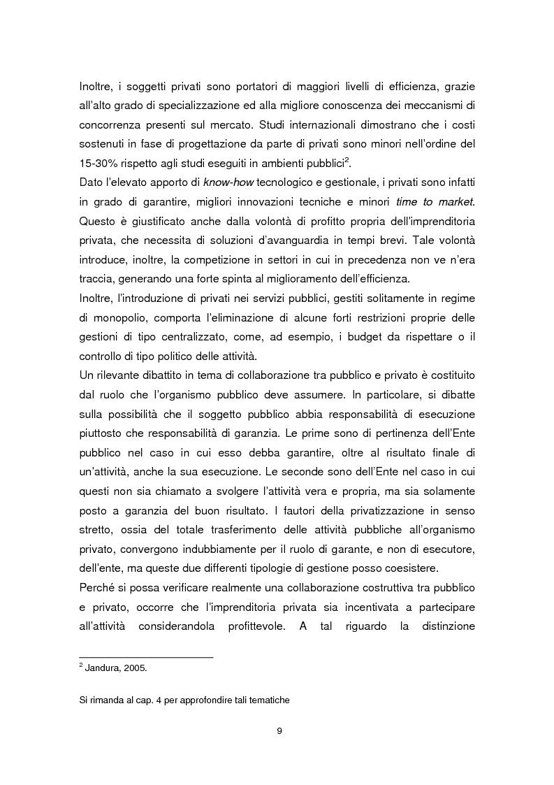 Anteprima della tesi: Forme di collaborazione pubblico-privato: un'analisi empirica sull'utilizzo del Project Finance nel settore sanitario italiano, Pagina 6