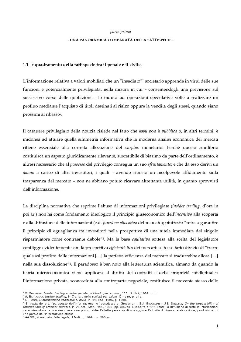 Anteprima della tesi: Il nuovo profilo dell'abuso di mercato: la punibilità dell'outsider trading, Pagina 1