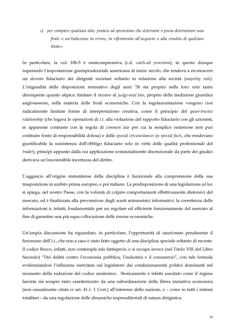 Anteprima della tesi: Il nuovo profilo dell'abuso di mercato: la punibilità dell'outsider trading, Pagina 10