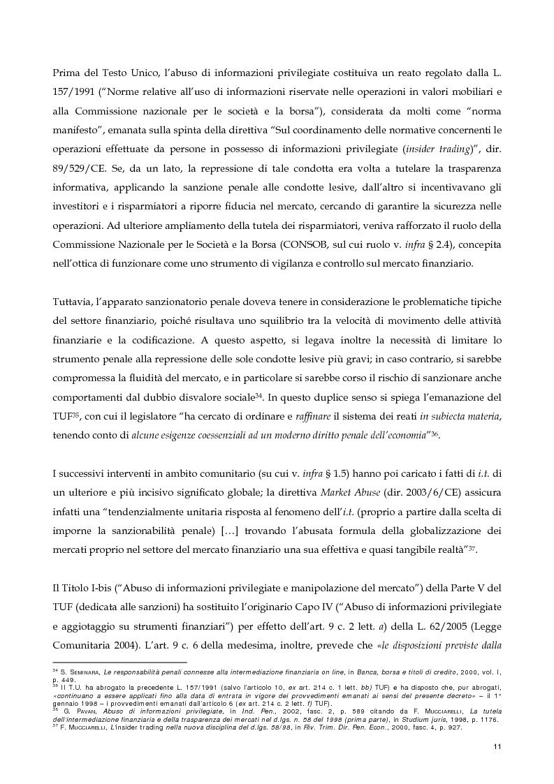 Anteprima della tesi: Il nuovo profilo dell'abuso di mercato: la punibilità dell'outsider trading, Pagina 11