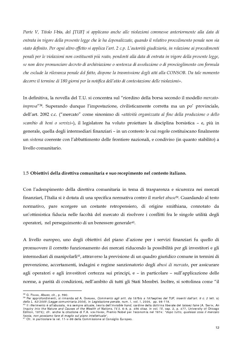 Anteprima della tesi: Il nuovo profilo dell'abuso di mercato: la punibilità dell'outsider trading, Pagina 12