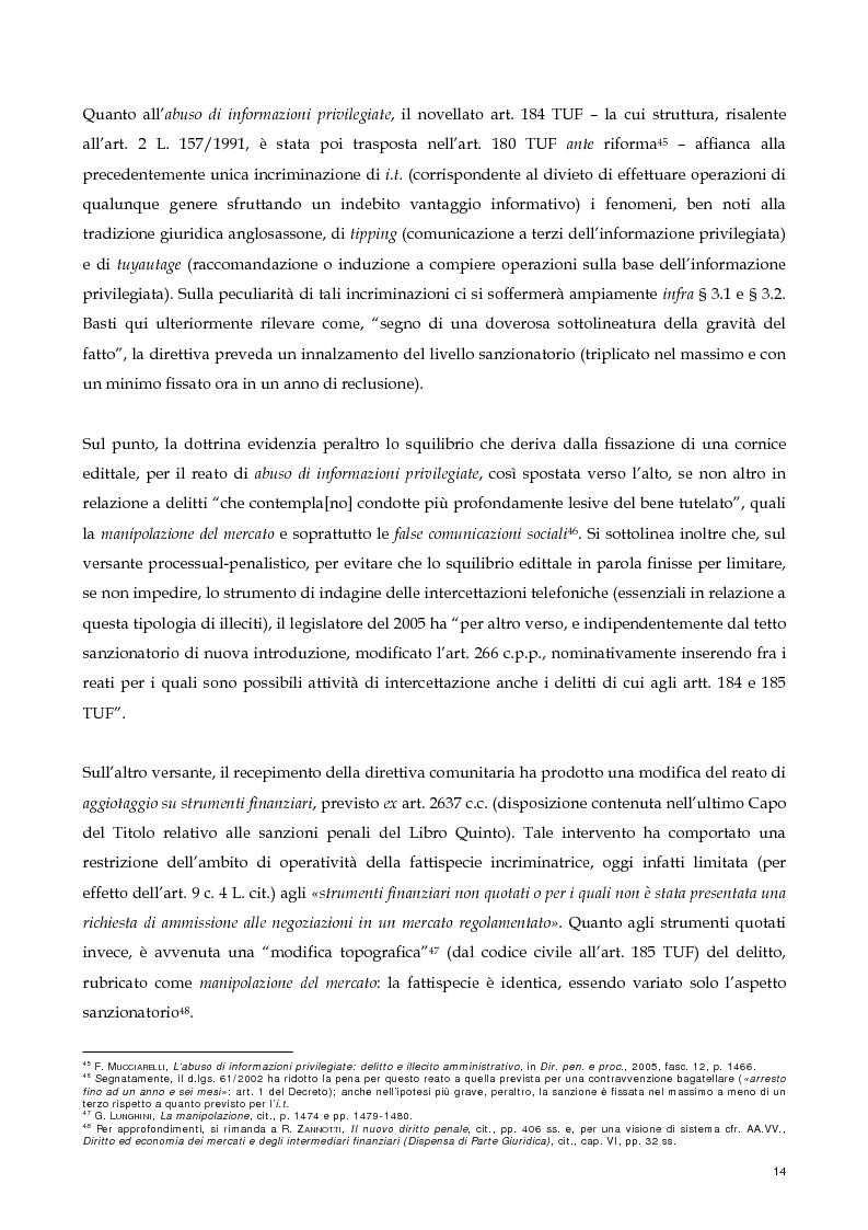 Anteprima della tesi: Il nuovo profilo dell'abuso di mercato: la punibilità dell'outsider trading, Pagina 14