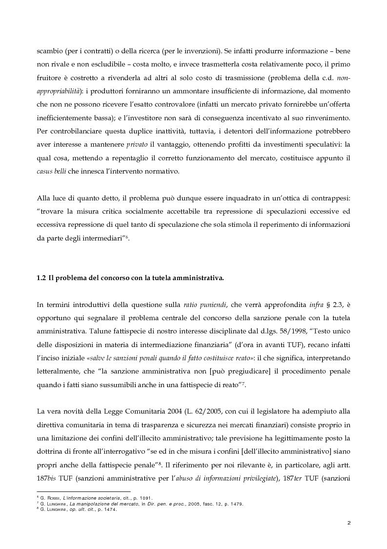 Anteprima della tesi: Il nuovo profilo dell'abuso di mercato: la punibilità dell'outsider trading, Pagina 2