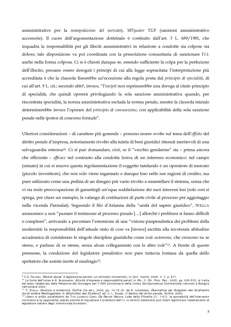 Anteprima della tesi: Il nuovo profilo dell'abuso di mercato: la punibilità dell'outsider trading, Pagina 3
