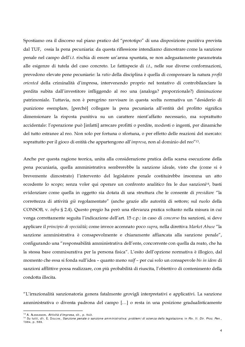Anteprima della tesi: Il nuovo profilo dell'abuso di mercato: la punibilità dell'outsider trading, Pagina 4