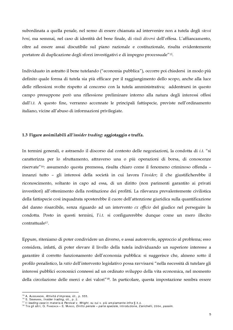 Anteprima della tesi: Il nuovo profilo dell'abuso di mercato: la punibilità dell'outsider trading, Pagina 5