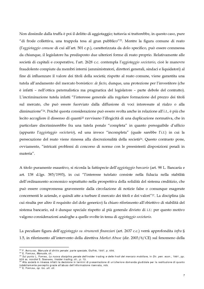 Anteprima della tesi: Il nuovo profilo dell'abuso di mercato: la punibilità dell'outsider trading, Pagina 7
