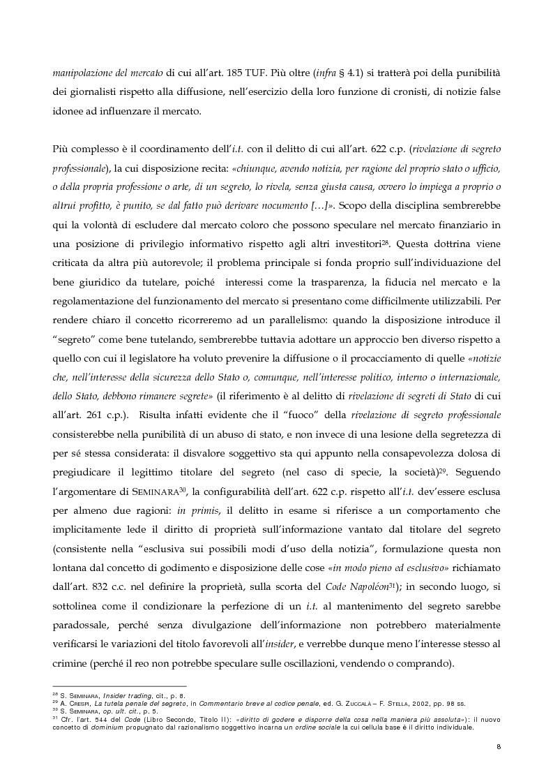 Anteprima della tesi: Il nuovo profilo dell'abuso di mercato: la punibilità dell'outsider trading, Pagina 8