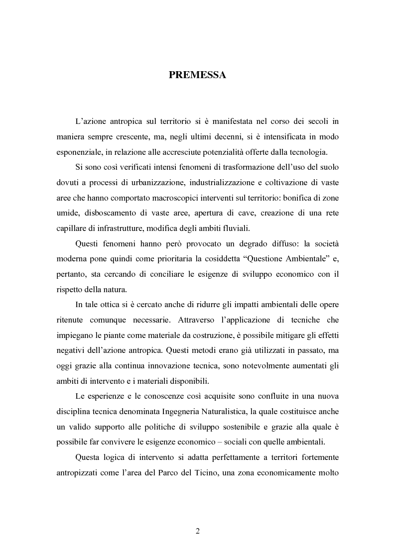Anteprima della tesi: Gli interventi di Ingegneria Naturalistica nel Parco del Ticino, Pagina 1