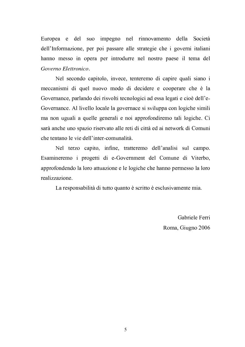 Anteprima della tesi: Il Comune italiano nell'Era dell'Informazione-I progetti di e-Government del Comune di Viterbo, Pagina 3