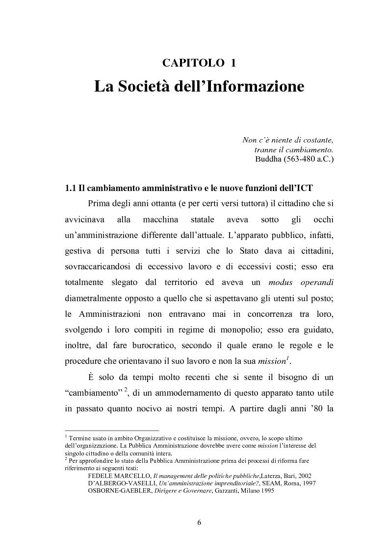 Anteprima della tesi: Il Comune italiano nell'Era dell'Informazione-I progetti di e-Government del Comune di Viterbo, Pagina 4