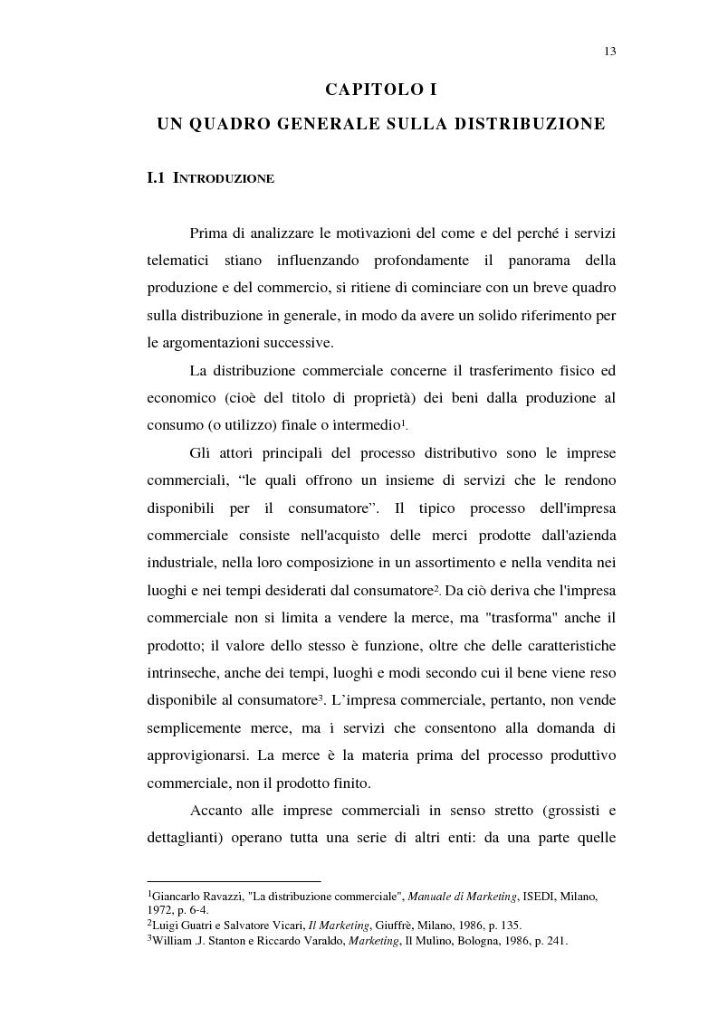 Anteprima della tesi: I servizi telematici nel marketing dei beni di consumo diretto, Pagina 1