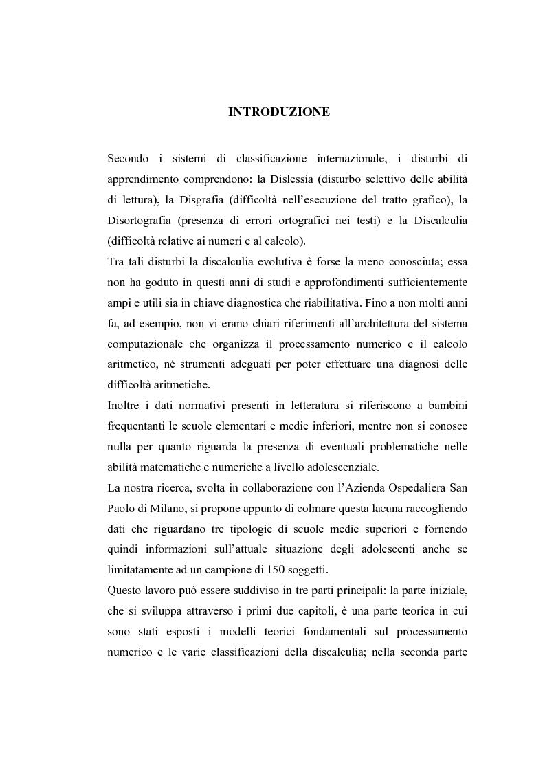 Anteprima della tesi: Raccolta di dati normativi per lo studio della discalculia evolutiva su un campione di adolescenti di scuola media superiore, Pagina 1
