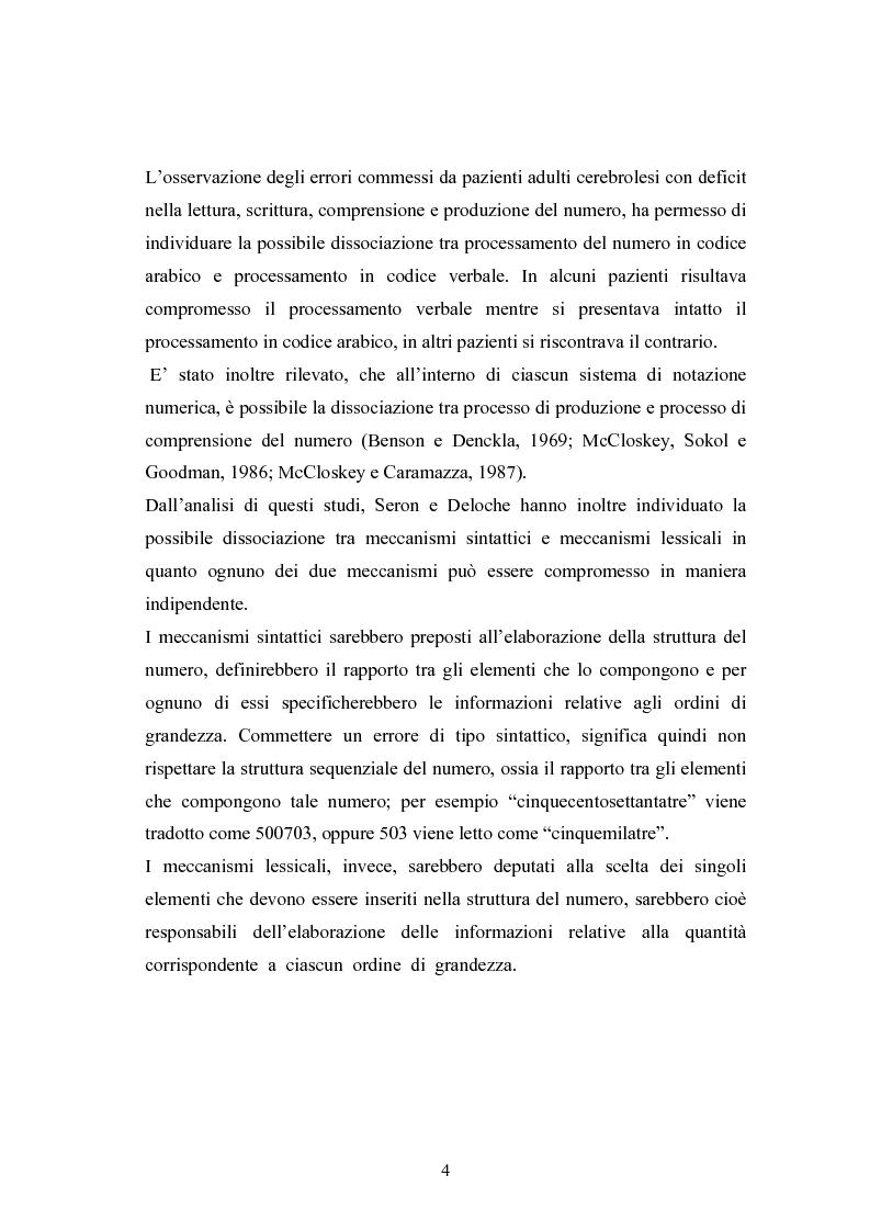 Anteprima della tesi: Raccolta di dati normativi per lo studio della discalculia evolutiva su un campione di adolescenti di scuola media superiore, Pagina 4