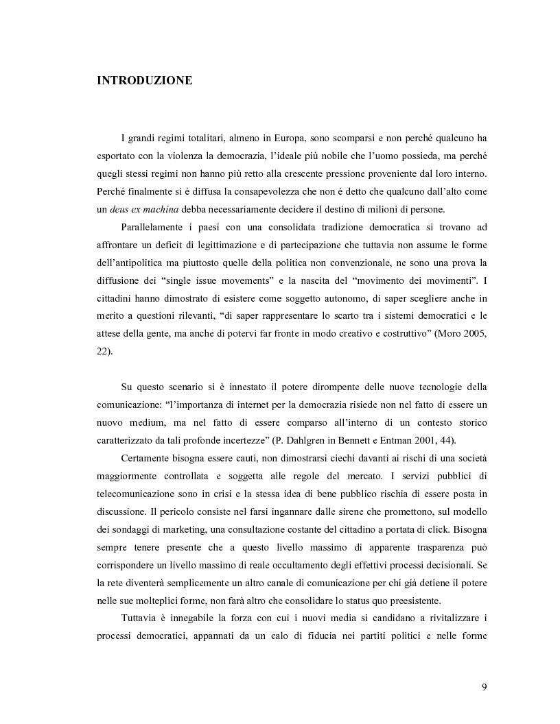 Anteprima della tesi: Da Bologna (io) a Bologna (noi). La democrazia e le nuove tecnologie della comunicazione, Pagina 1
