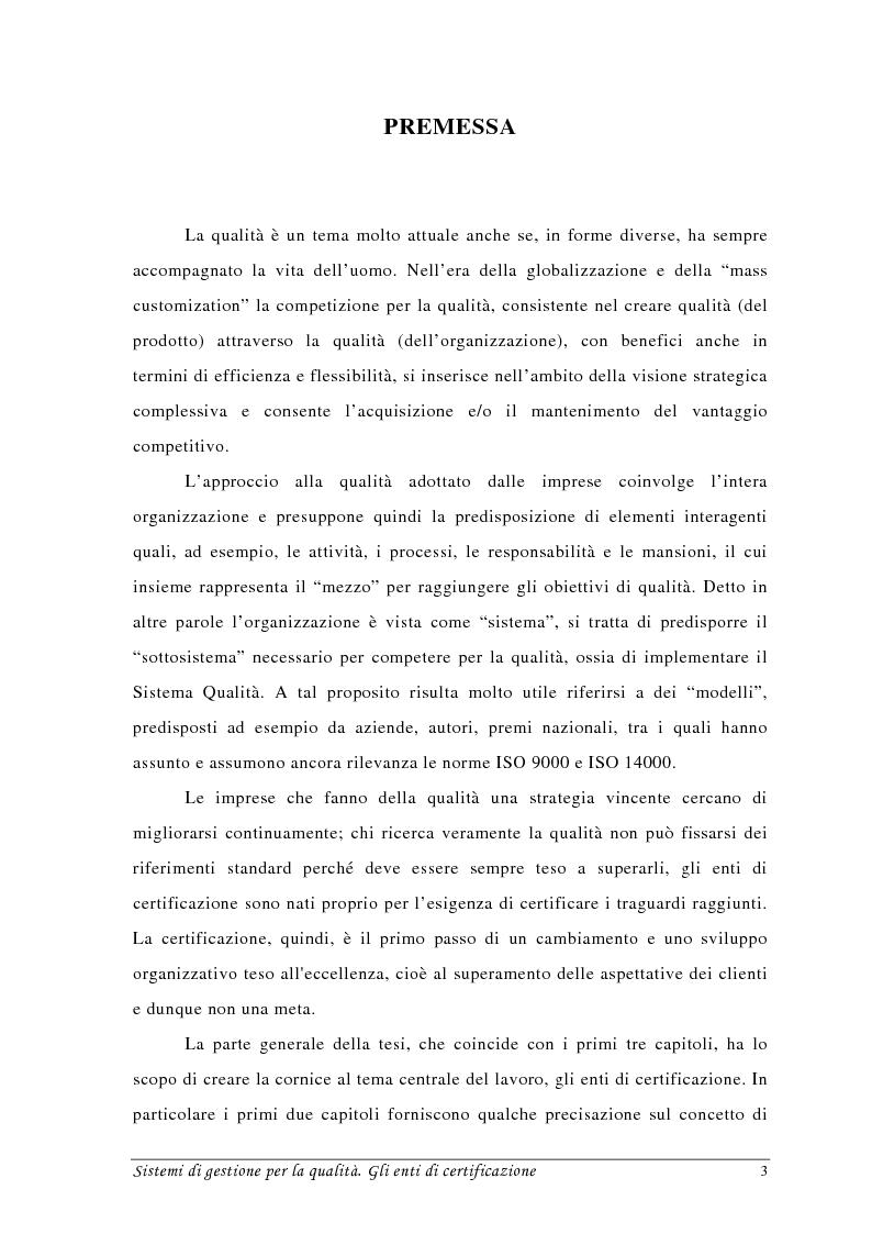 Anteprima della tesi: Sistemi di gestione per la qualità. Gli Enti di Certificazione, Pagina 1