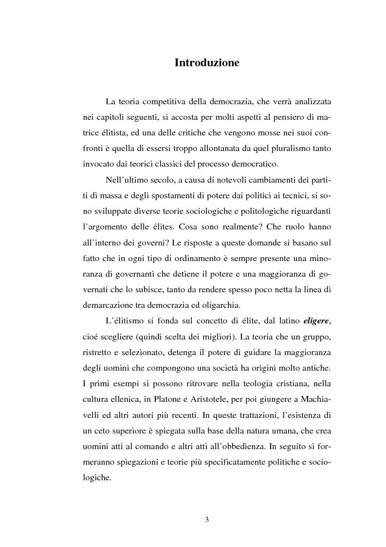Schumpeter e la teoria competitiva della democrazia - Tesi di Laurea