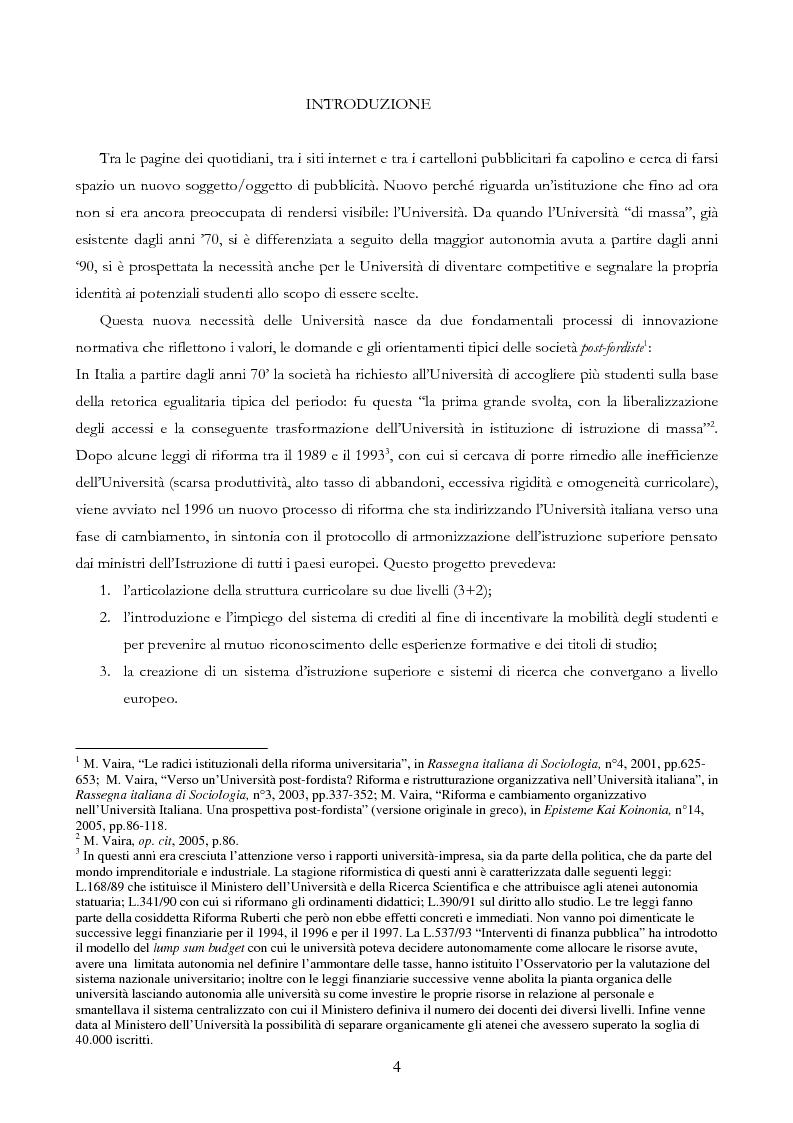 Anteprima della tesi: Università e Comunicazione: i casi di Ferrara e Pavia a confronto, Pagina 1