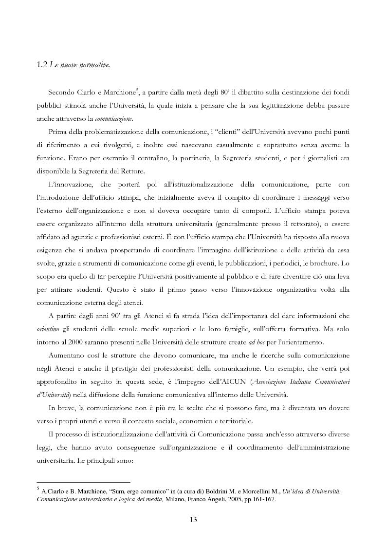 Anteprima della tesi: Università e Comunicazione: i casi di Ferrara e Pavia a confronto, Pagina 10