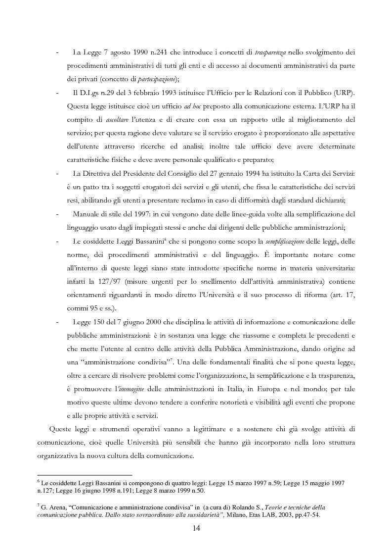 Anteprima della tesi: Università e Comunicazione: i casi di Ferrara e Pavia a confronto, Pagina 11