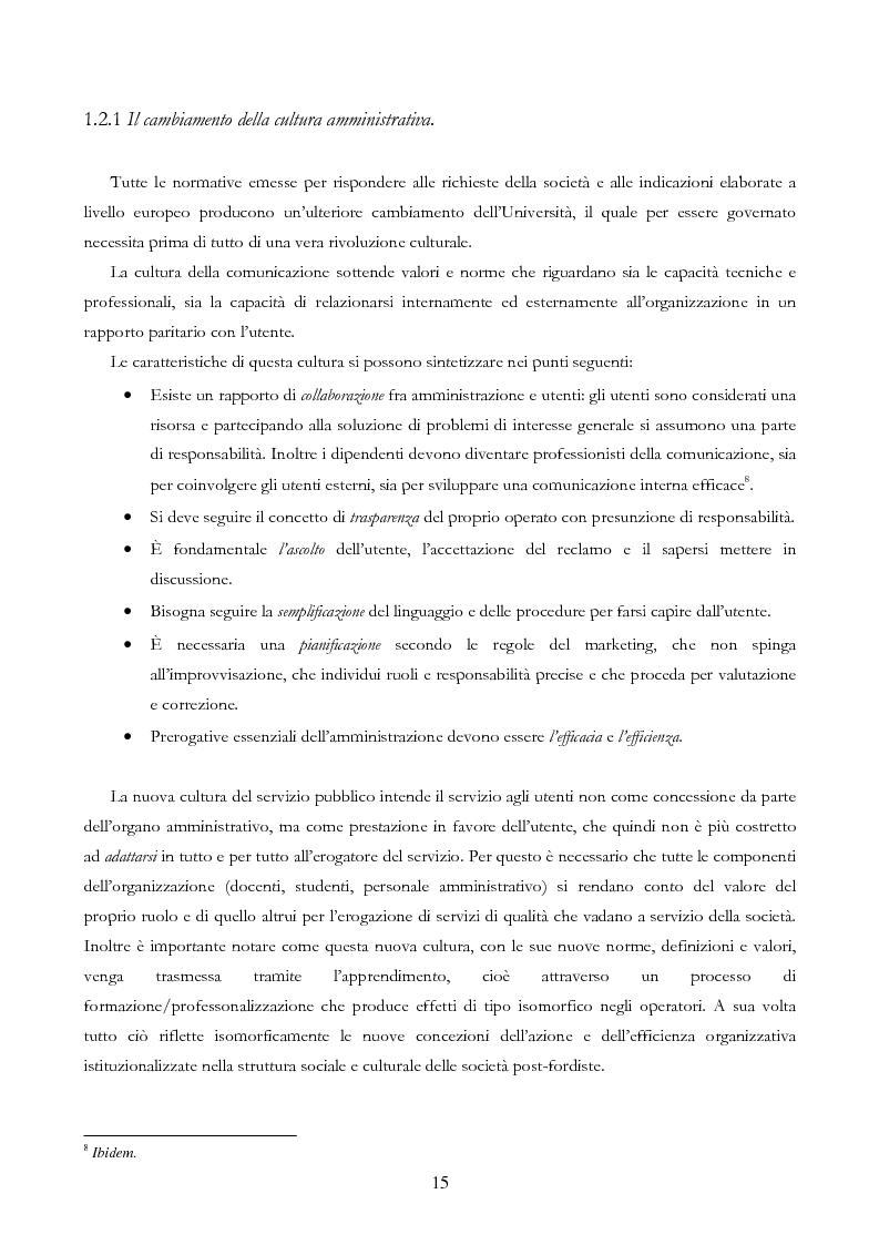 Anteprima della tesi: Università e Comunicazione: i casi di Ferrara e Pavia a confronto, Pagina 12