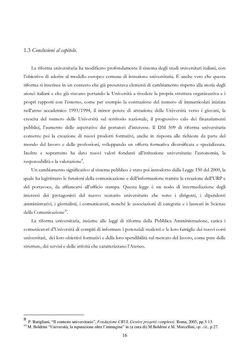 Anteprima della tesi: Università e Comunicazione: i casi di Ferrara e Pavia a confronto, Pagina 13
