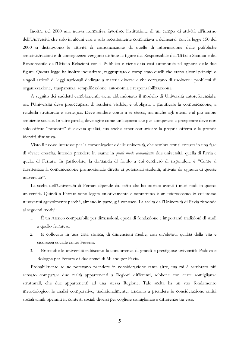 Anteprima della tesi: Università e Comunicazione: i casi di Ferrara e Pavia a confronto, Pagina 2