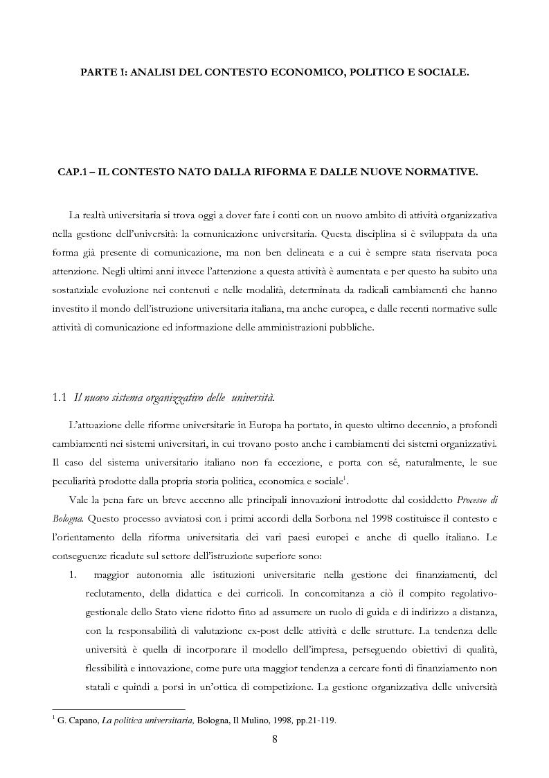 Anteprima della tesi: Università e Comunicazione: i casi di Ferrara e Pavia a confronto, Pagina 5