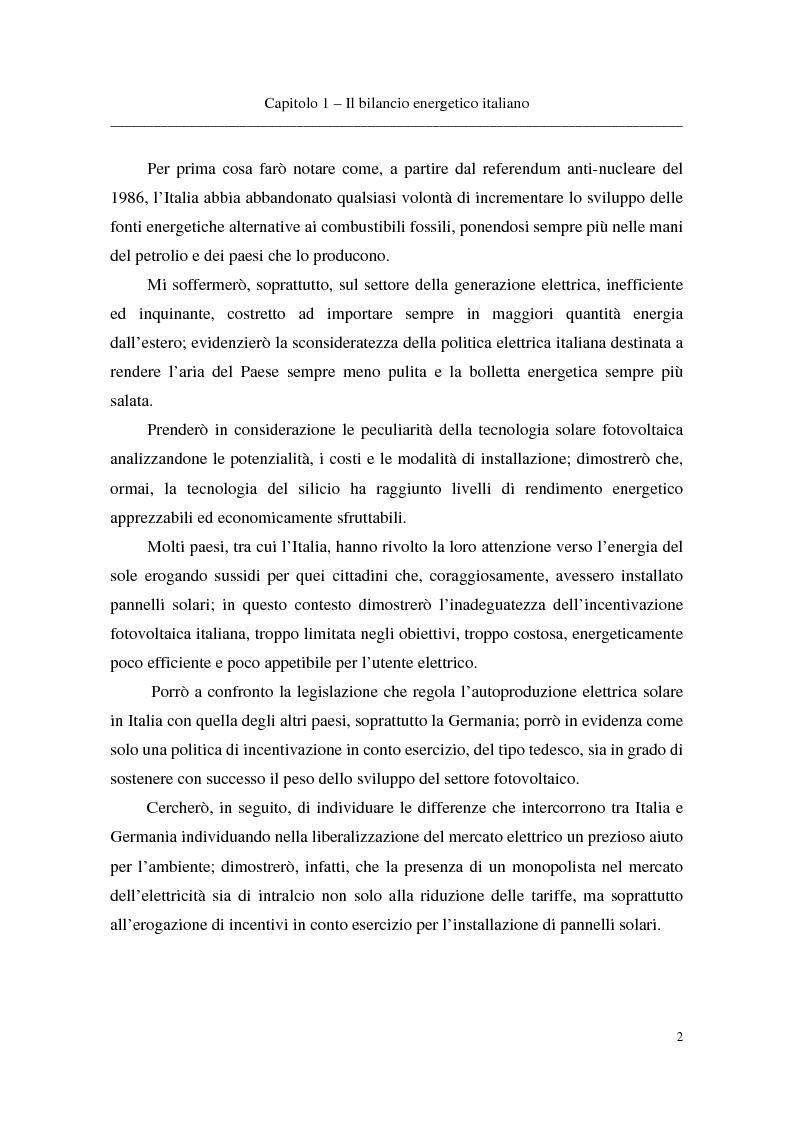 Anteprima della tesi: La tecnologia fotovoltaica come soluzione energetica per rispettare gli impegni di Kyoto, Pagina 2