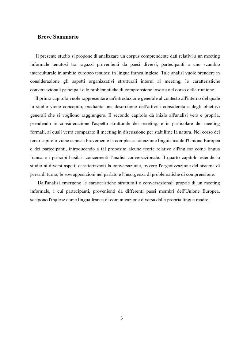 Anteprima della tesi: Un'analisi linguistica di una riunione informale in Inglese come Lingua Franca, Pagina 1