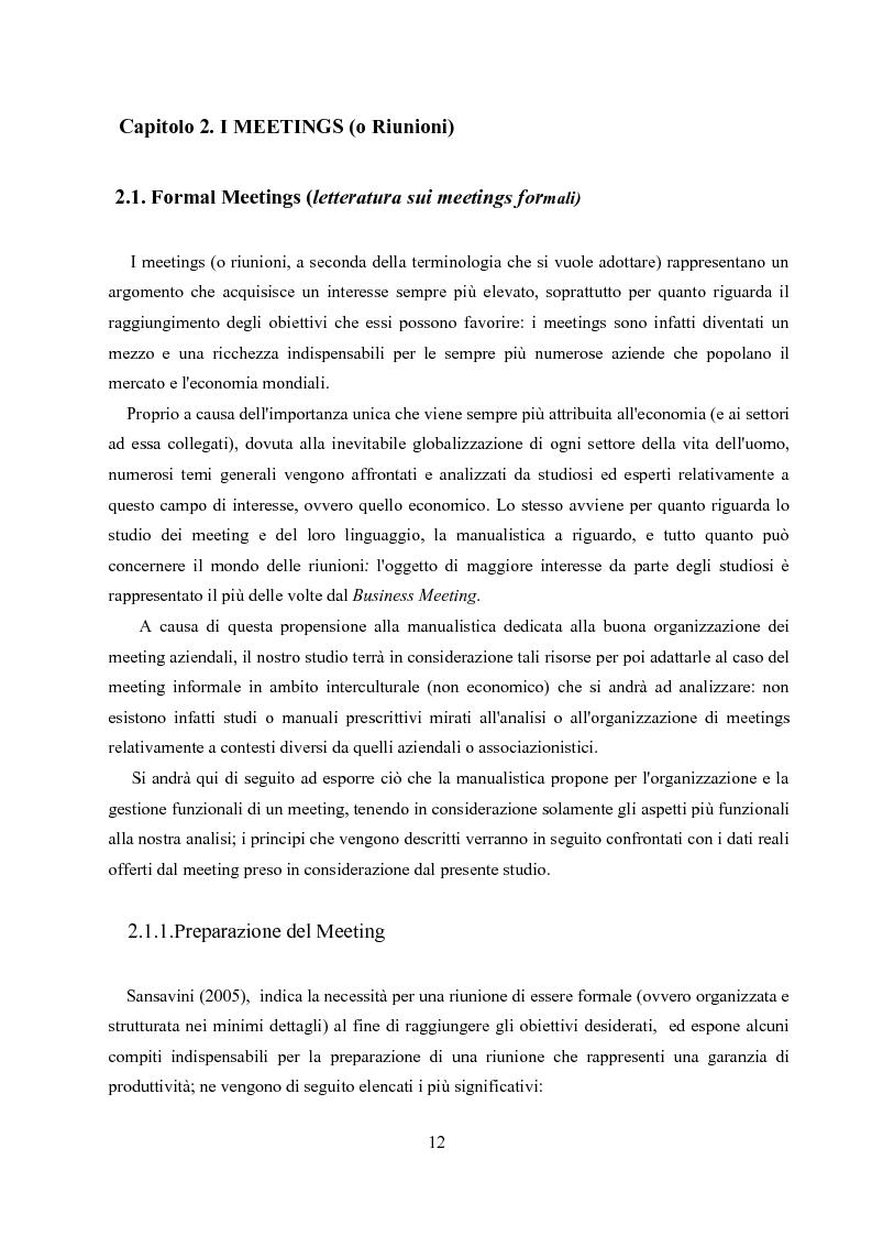 Anteprima della tesi: Un'analisi linguistica di una riunione informale in Inglese come Lingua Franca, Pagina 10