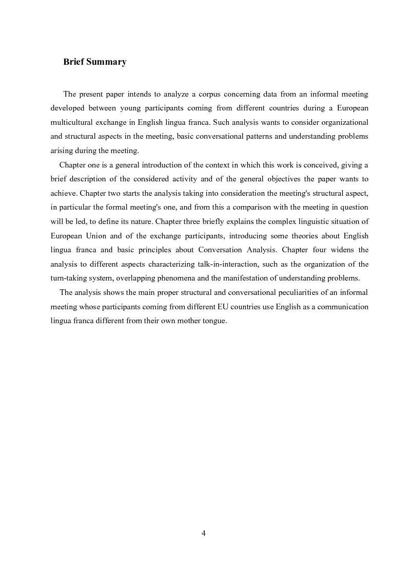 Anteprima della tesi: Un'analisi linguistica di una riunione informale in Inglese come Lingua Franca, Pagina 2