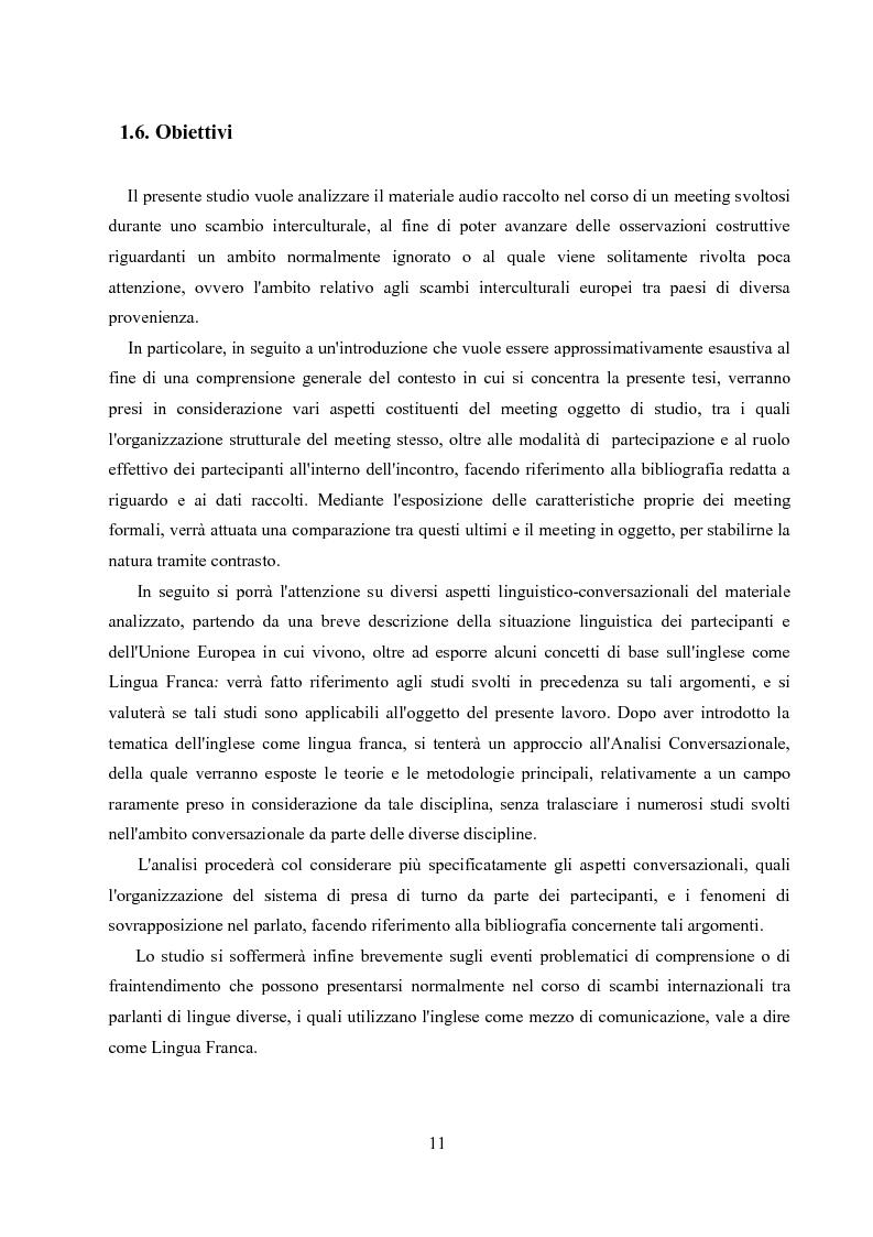 Anteprima della tesi: Un'analisi linguistica di una riunione informale in Inglese come Lingua Franca, Pagina 9