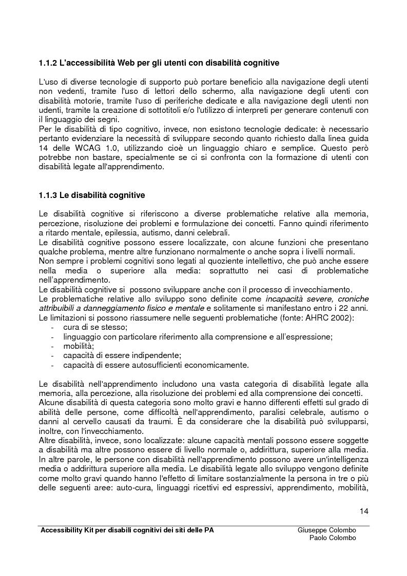 Anteprima della tesi: Accessibility Kit: Valutazione dell'Accessibilità dei siti web della Pubblica Amministrazione per gli utenti con disabilità cognitive, Pagina 10