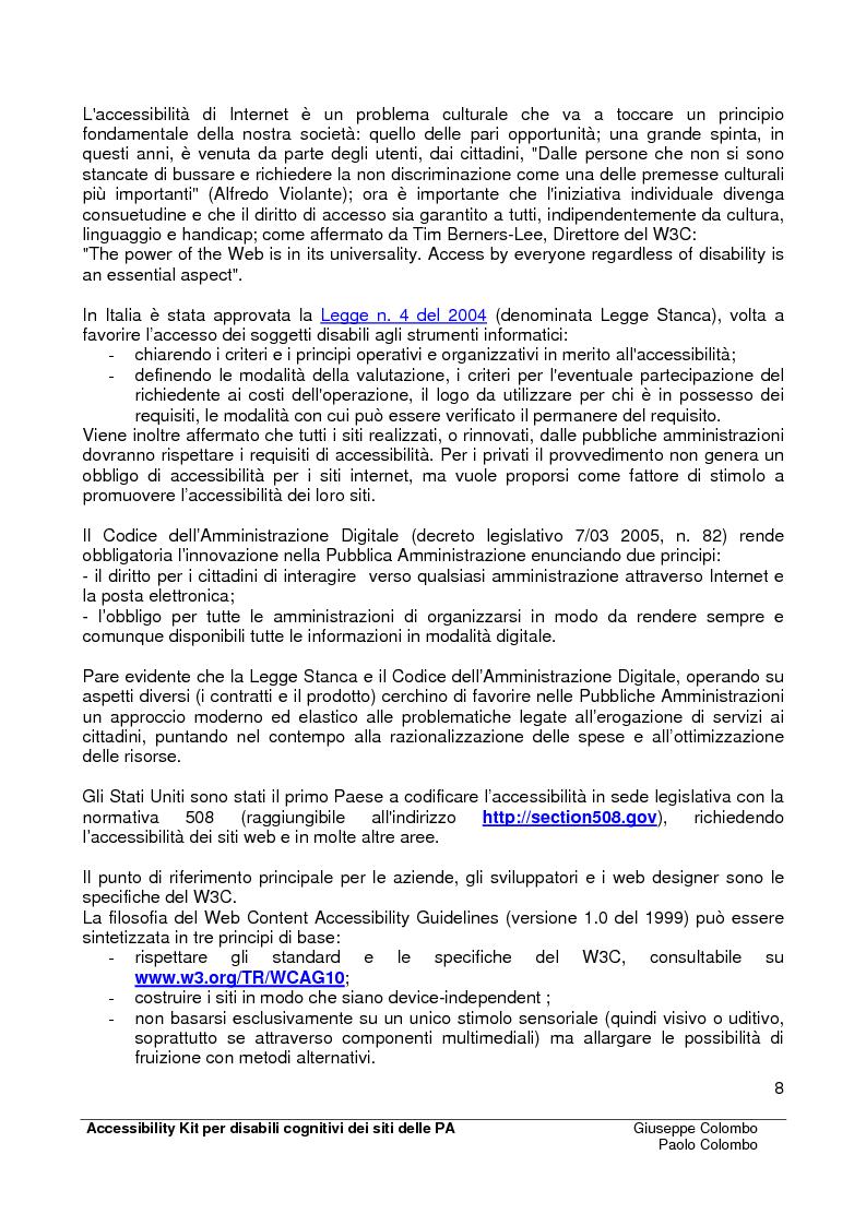 Anteprima della tesi: Accessibility Kit: Valutazione dell'Accessibilità dei siti web della Pubblica Amministrazione per gli utenti con disabilità cognitive, Pagina 4