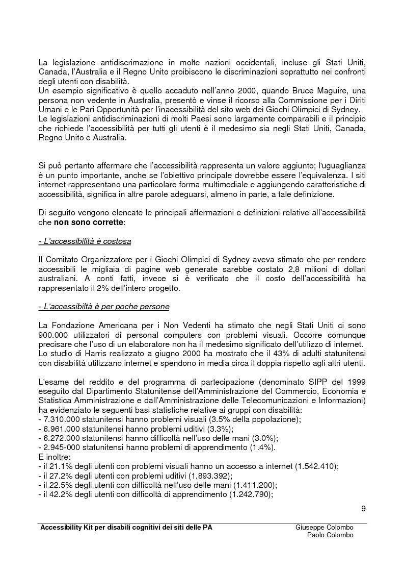 Anteprima della tesi: Accessibility Kit: Valutazione dell'Accessibilità dei siti web della Pubblica Amministrazione per gli utenti con disabilità cognitive, Pagina 5