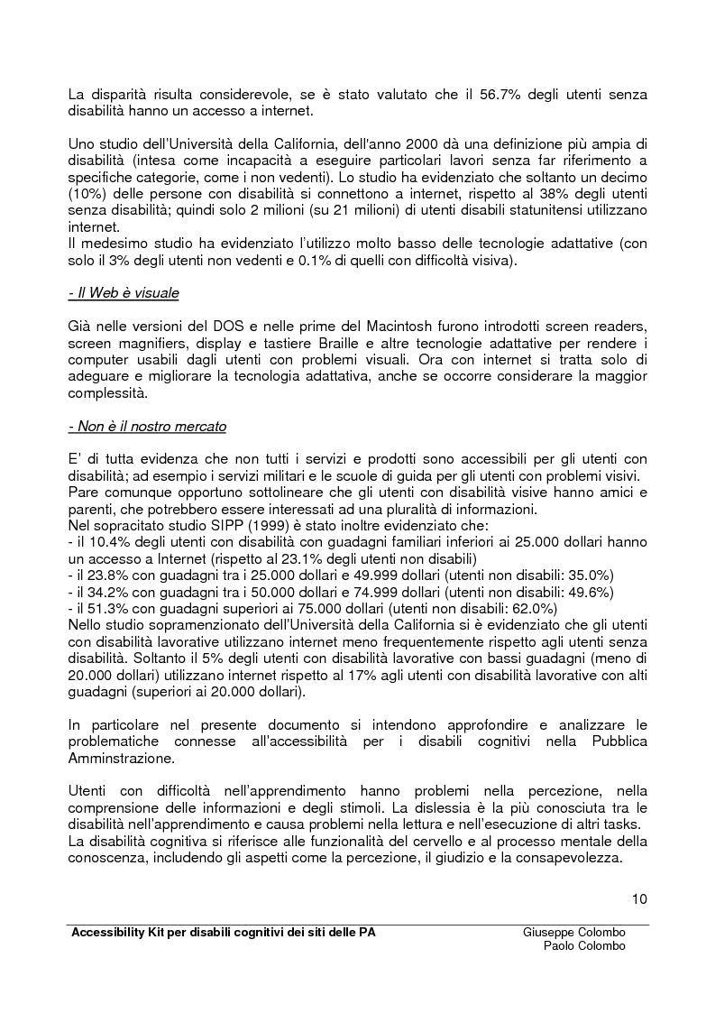 Anteprima della tesi: Accessibility Kit: Valutazione dell'Accessibilità dei siti web della Pubblica Amministrazione per gli utenti con disabilità cognitive, Pagina 6